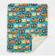 Trains Turquoise Organic Cotton With Minky Dot Baby Blanket