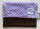 Minky Dot Lavender With Chocolate Brown Security Blanket 14