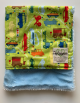 Beep Beep Lime Green Organic Cotton Luxe Blue Baby Blanket