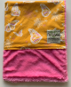Organic Cotton Butterfly Yellow  Luxe Raspberry Baby Blanket
