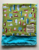 Organic Cotton Cars Lime Green  Turquoise Luxe Bella Blanket
