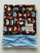 Organic Cotton Road Trip Brown With Luxe Blue Baby Blanket