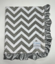 Chevron Silver Ruffle Baby Blanket